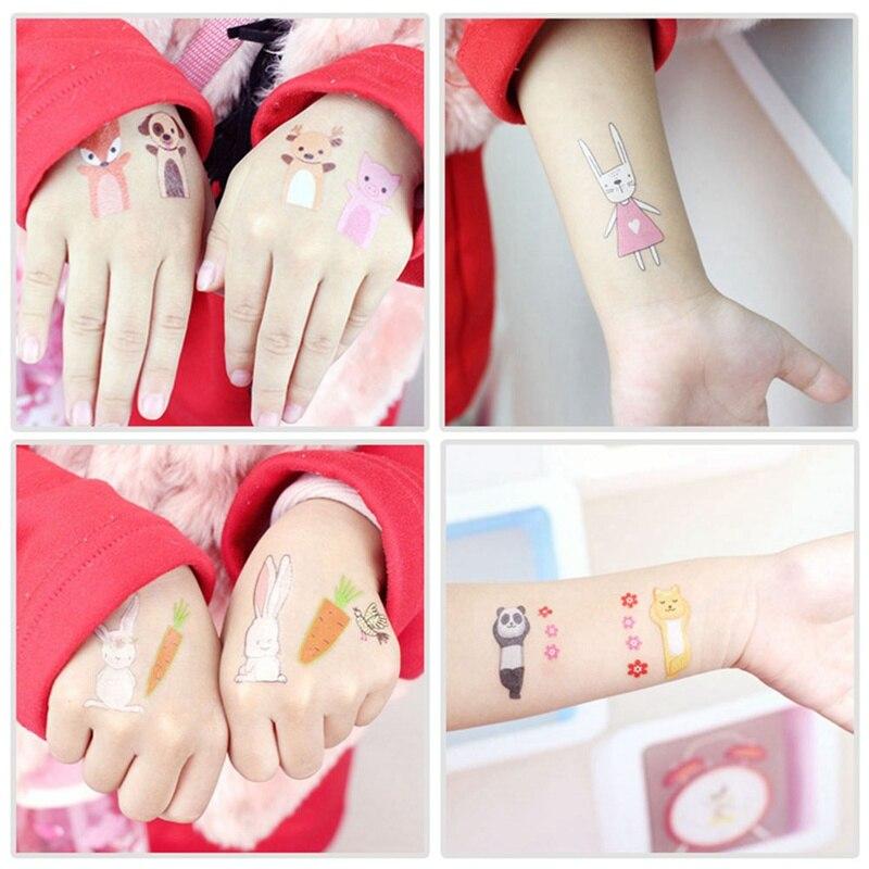 New Cartoon Cute Kids Children Flamingo Fox Squirrel Animal Temporary Sticker Card Body Art Sticker Toys #4