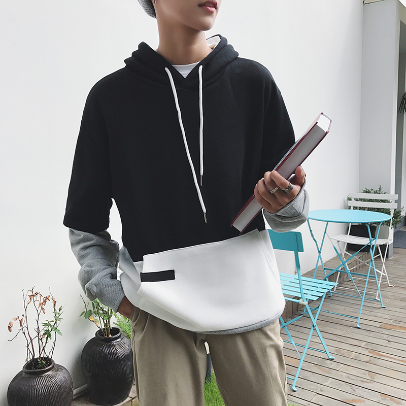 2018 Spring New Japanese Gangsters Young Fashion Two-color Stitching Hoodie Hot Basic Style Personalized Design Large Size Loose
