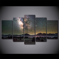 5 Pcs HD Printed Galaxy Night Starry Sky Wall Art Pictures Modular Canvas Home Decor Painting HD Printed Abstract Poster Cuadros