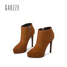 GAOZZE High Heel Ankle Boots for Women 2018 Spring New Black Leather Ankle Boots Side Zipper Fashion Pointed Platform Ankle Boot