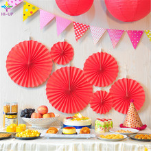 6pcs/lot Solid Color Red Cheap Paper Fans For Wedding Tissue Flowers Birthday Party Holiday Supplies Favors