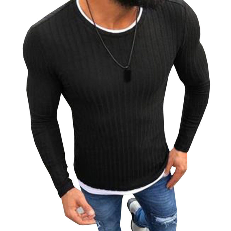 2019 <font><b>Autumn</b></font> Men Clothing Casual Fit Slim Basic Knitted Sweater Pure Color Pullover <font><b>Sexy</b></font> Skinny Thin Sweaters Plus Size 4XL <font><b>5XL</b></font> image
