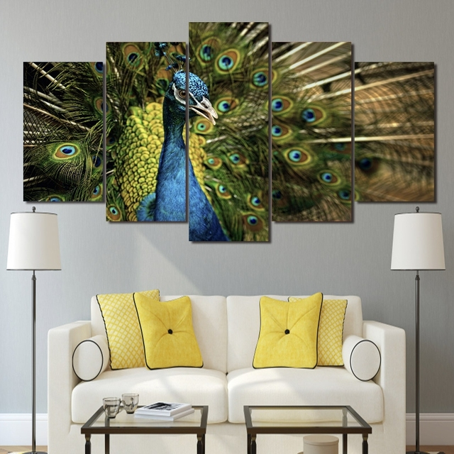Home Canvas Wall Art Decor Wall Art Canvas Paintings 5 Pieces Peacock  Splendid Tail For Living