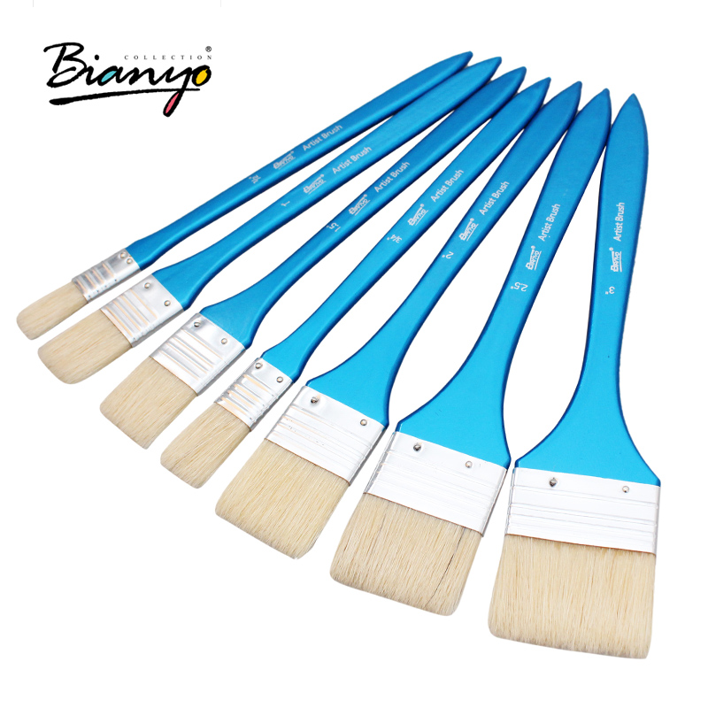 Bianyo 7Pcs Artist Flat Bristle Hair Oil Paint Brush Graffiti tools Set For Acrylic Watercolor DIY Graffiti Brush Art Supplies bgln 12pcs set bristle hair flat oil painting brush mix size solid wood pole artist oil acrylic paint brush art supplies