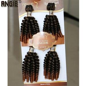 Image 5 - Angie Ombre Funmi Synthetische Haar Spinnt 4 Bundles Eine Packung Zwei Ton T1B/#30 Kurze Haare Schuss Extensions hohe Temperatur Faser