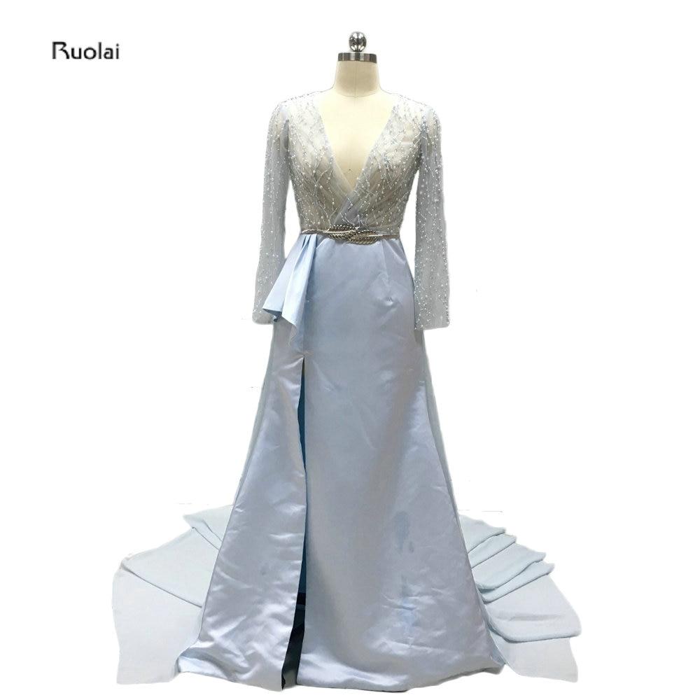 Sexig Deep V-Neck Chrissy Teigen Oscars Klänning Bröllopsfest Sweep Train Custom Made Långärmade Aftonklänningar