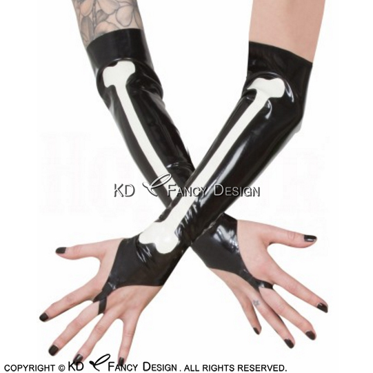 Black With White Bone Decorations Sexy Long Latex Gloves Rubber Mittens ST-0024