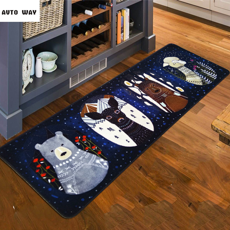 Nordic Winter jungle Non-slip carpet Kitchen mats Bed blanket Christmas new Years gift floor mat cartoon rug free shipping