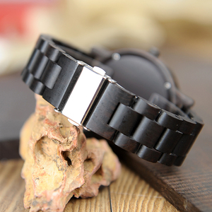 Image 5 - Bobo Vogel Ebbenhout Horloge Mannen Waterdicht Horloge Japanse Beweging Klok Eenvoudige Houten Band Polshorloge Relogio Masculino B P10