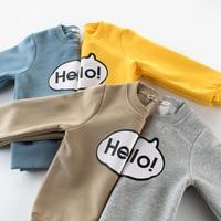 O-pescoço Carta Kawaii Meninos Camisas Pulôver de Algodão 2-8Y Meninas T camisa Esporte 4 Cores Top De Veludo de Manga Longa Crianças Casuais roupas