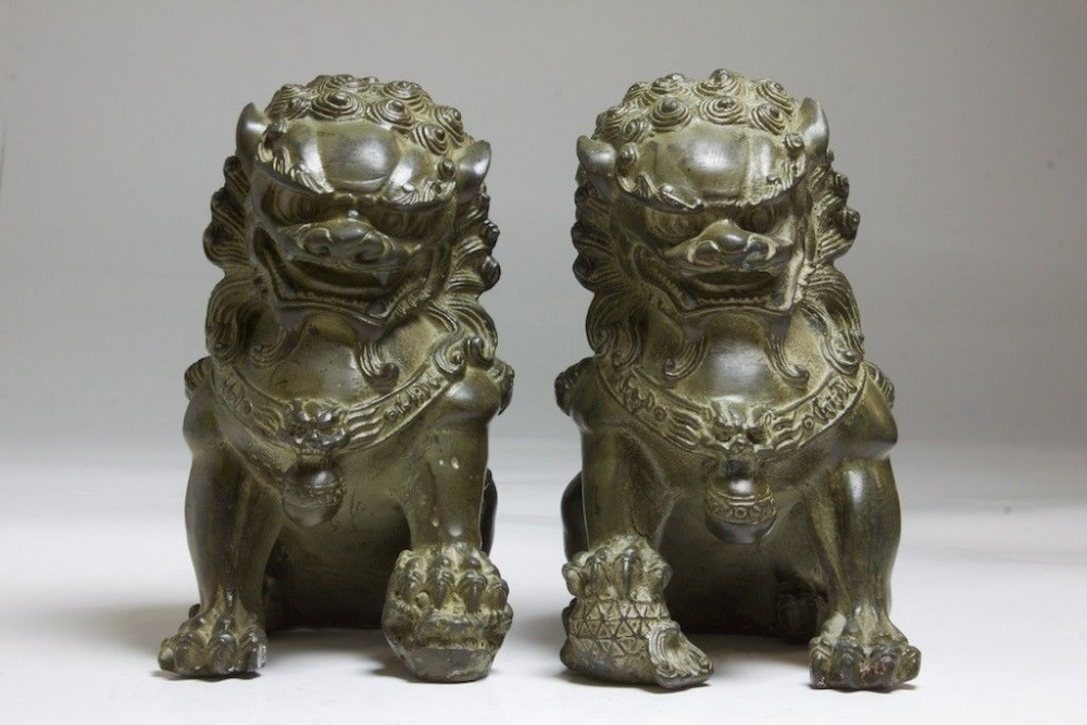 "6/"" China Chinese Folk Home Copper Fu Foo Dog Lion Head Door knocker Statue 15cm"