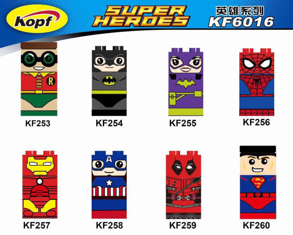KF6016 Single Sale Captain America Robin Spiderman Deadpool Iron Man Batman Super Heroes Building Blocks Modle Kids Gift Toys single sale super heroes homecoming spiderman with hand spidder