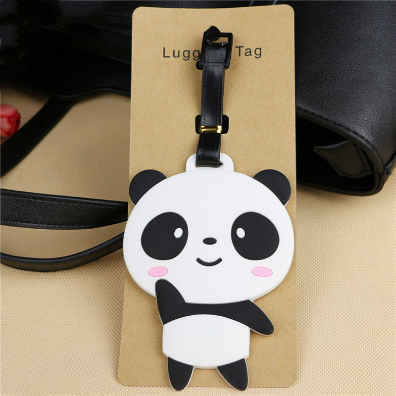 Cute Bear Panda Luggage Tag Cartoon Address Holder Baggage Label Silicone Identifier Travel Accessories