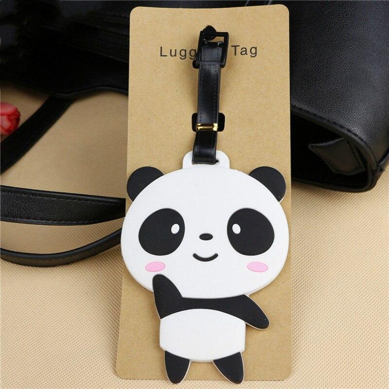 Cute Bear Panda Luggage Tag Cartoon Address Holder Baggage Label Silicone Identifier Travel Accessories