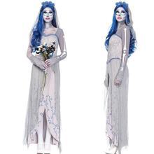 Страшный костюм белый Труп невесты призрак кровавый Косплей Костюм Платье для Haloween маскарад Вечерние