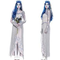New Scary Costume White Corpse Bride Ghost Bloody Cospaly Costume Dress For Haloween Masquerade Party