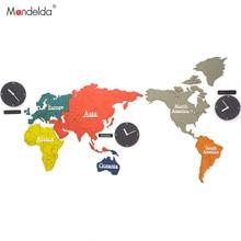Mandelda World Map Wall Clock Large Decorative Clocks For Living Room Self Adhesive Modern Design Home Decor