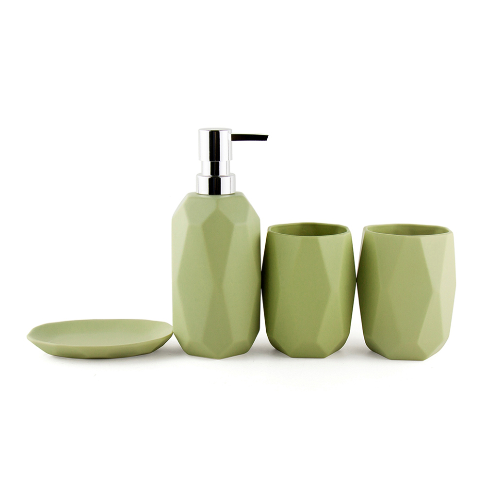 Decotalk Ceramic Bathroom Set 4 Piece Set Diamond Shape Matt Finishing Wedding Decoration Sets Bath