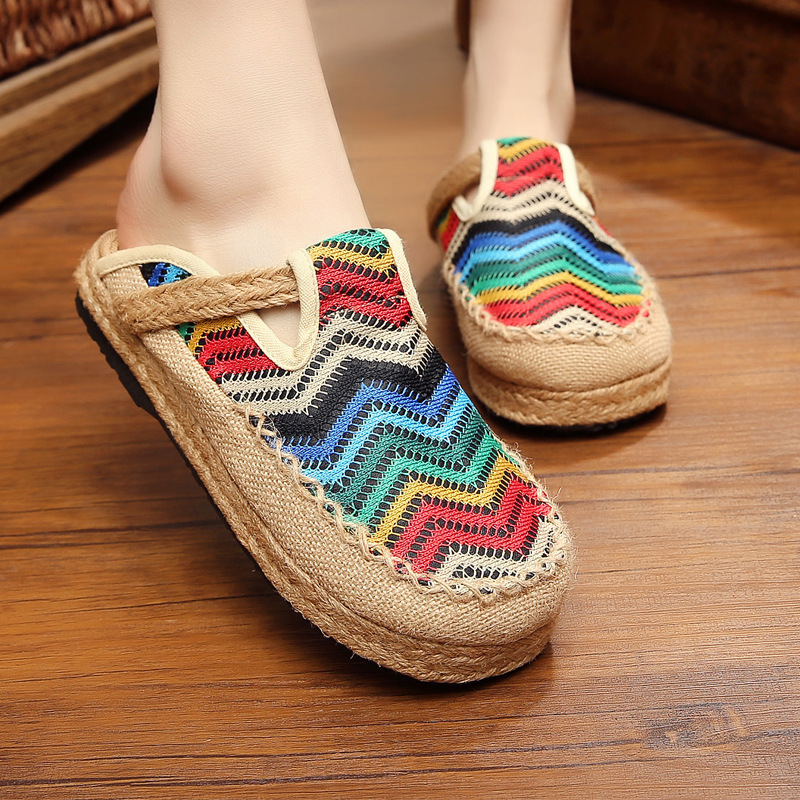 handmade cotton hemp shoes womens hemp rope straw woven womens shoes Cotton half slippers luxury shoes women designers summer in Slippers from Shoes