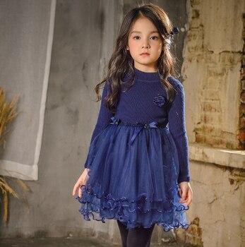 6239 Lo Новая осень Жемчуг Цветы одежда принцессы Свадебное платье, платья для дня рождения для детей От 3 до 9 лет для девочек вечерние платье