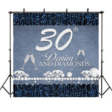 Happy 30th 40th 50th 60th Birthday Backdrop Denim Diamond Photography Background Goblet Lady Party Decoration Photo Backdrops(China)