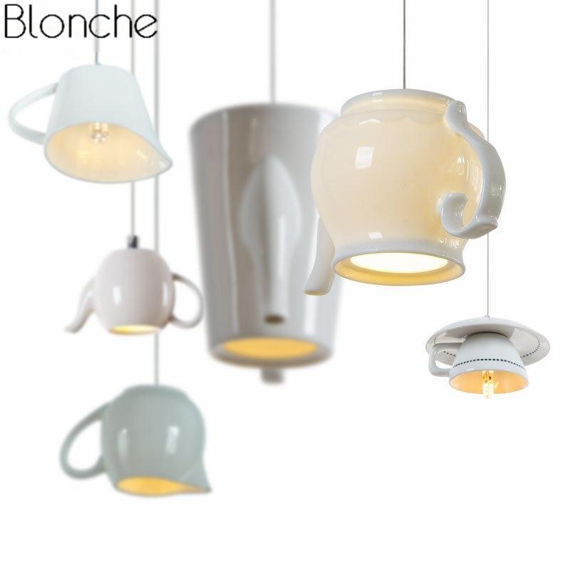 Modern Ceramic Led Pendant Lights Tea Cup Teapot Hanglamp Nordic Hanging Lamp Home Decor Dining Room Kitchen Lighting Fixtures цена