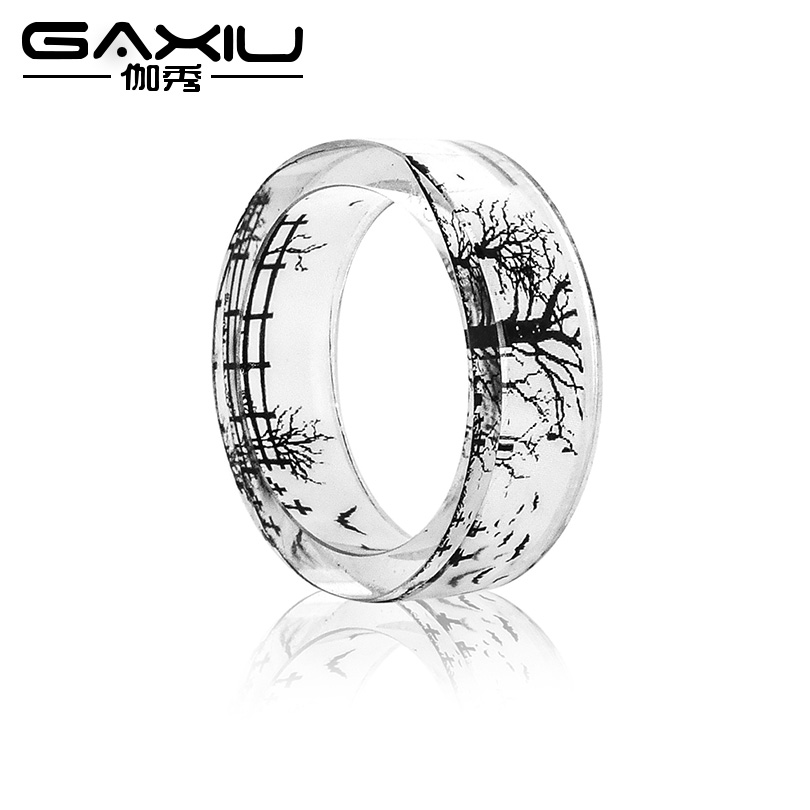 Simple Fashion Landscape tree Ring Men Ink Painting Scenery Inside Epoxy Resin Rings Women Finger Punk Jewelry Black And White mariposa en plata anillo