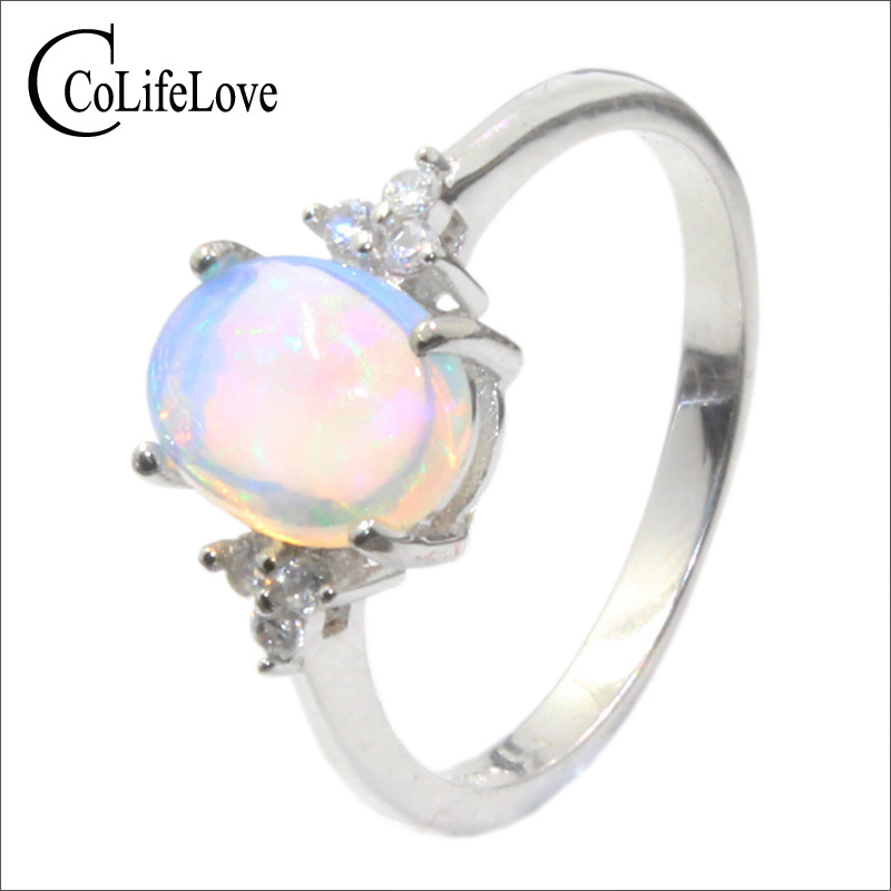 Hot sale opal engagement ring for girl 7 mm 9 mm natural opal silver ring classic