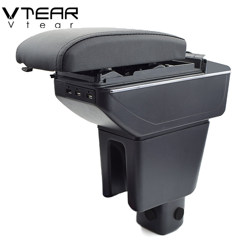 Vtear For Honda Amaze armrest box USB Charging heighten Double layer central Store content cup holder
