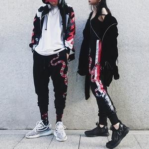 Image 3 - YEELOCA 2019 High Quality Coral Snake Print Hip Hop Trousers Harajuku Cotton Streetwear Jogger Sports Harem Pants