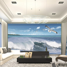Custom 3D Print DIY Fabric &Textile Wallcoverings For Walls Manuel Washable Matt Silk For Living Room Ocean Wave Bird Sky Photo(China)