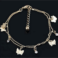 Women Gold Color Butterfly Charms Anklets Lady Gold Plated Double Link Chain Ball Anklets Fine Jewelry For Women