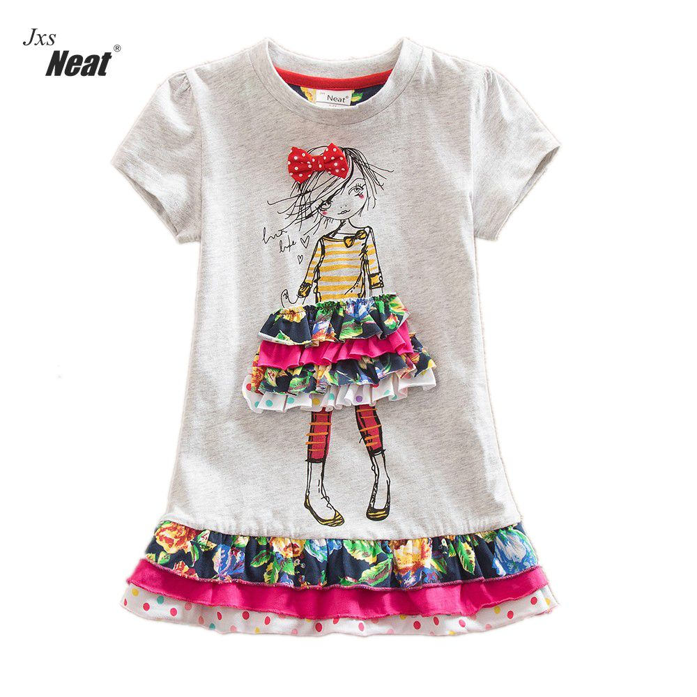 2016 retail baby girl clothes short Sleeve girls Dress Kids pretty Dresses A-line children clothing new christmas SH3660 little maven kids brand clothes 2017 new autumn baby girls clothes cotton bird printing girl a line pocket dress d063