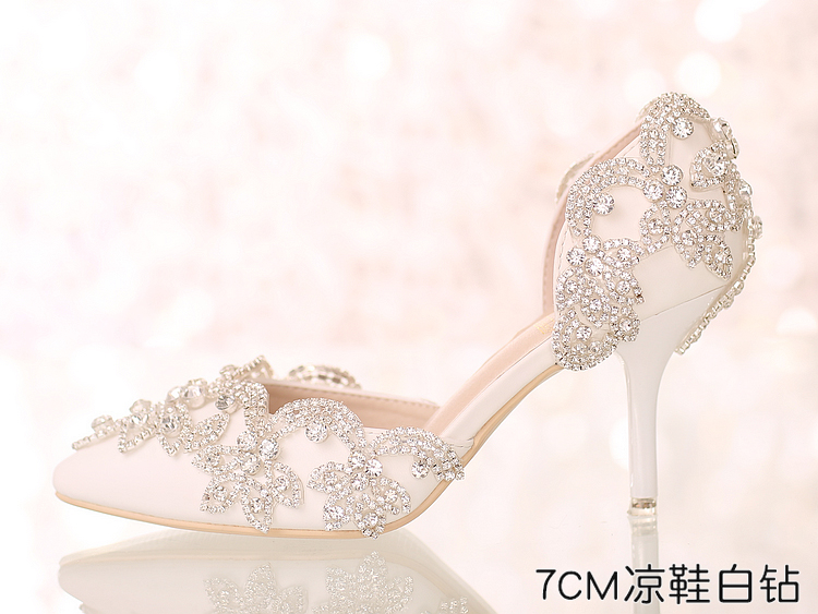 Crystal Queen White Silver Rhinestone Pumps High Heel Sandals Pointed Toe Wedding Party Heels Shoes Rhinestone