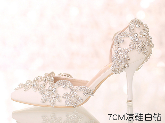 97822a641 Crystal Queen White Silver Rhinestone Pumps High Heel Sandals Pointed Toe  Wedding Party Heels Shoes Rhinestone Heels Shoes