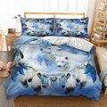 Комплект постельного белья с принтом снежного волка для одеяла  набор постельного белья из полиэстера  льняное постельное белье