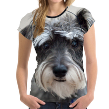 ФОТО noisydesigns cute dog schnauzer printed t shirt women stylish breathable short sleeve top clothes brand fitness o neck t-shirts