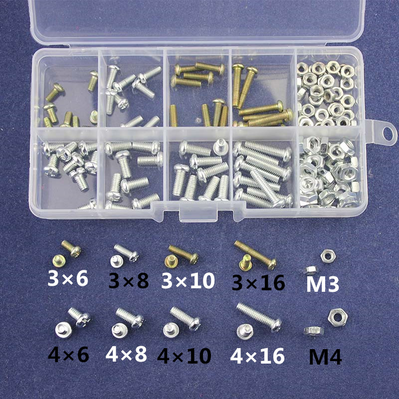 160pcs Metric Thread M3/M4 6mm 8mm 10mm 16mm Kit Screw / Nut Male Female PCB Board Screw Assortment Kit Set #M3 #M4
