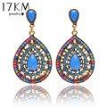 17KM Christmas gifts Female fashion Wedding party Charm jewelry  Vintage Bohemian beads heart pendant drop earrings women