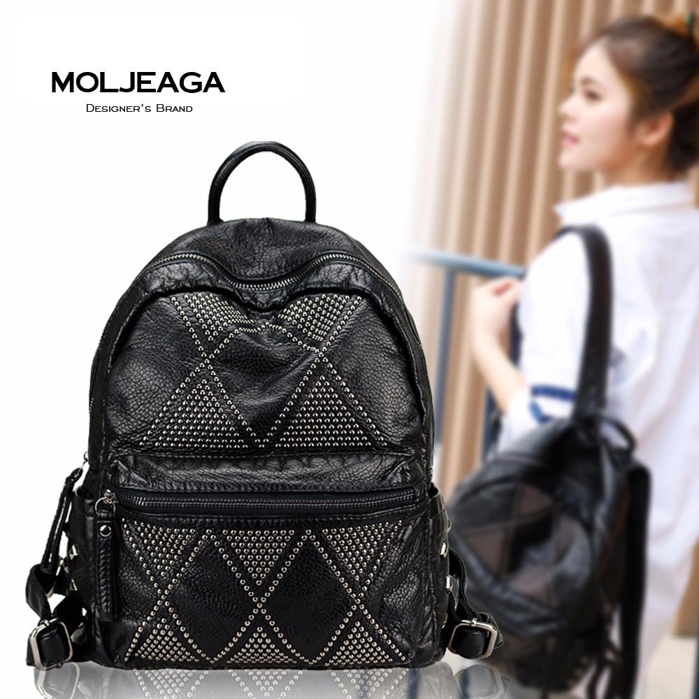 MOLJEAGA Brand 2017 Fashion Women Backpacks Rivet Black Soft Washed Leather Bag Schoolbags For Girls Female
