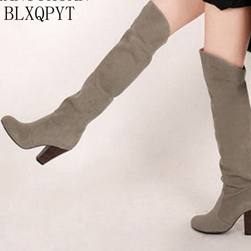 BLXQPYT 2017 Winter Autumn Boots Big Size 34-43 Over The Knee Boots Women Sexy High Heels Long Round Toe Platform Knight 818 цена