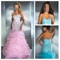 Amor elegante del azul real rosa brillantes vestidos fiesta sirena noche vestidos Fishtail Organza 2014 nueva llegada del envío gratis