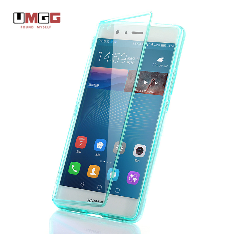 selezione premium 33395 978fd US $7.83 20% OFF|Cover for Huawei P9 Lite Case Original UMGG Flip  Transparent Big View Window Shockproof Phone Case for Huawei P9 G9 Lite  Cover-in ...