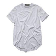 ZSIIBO TX135-C men's T Shirt Kanye West Extended Round Sweep T-Shirt Curved Hem Long line Tops Hip Hop Urban Blank Justin Bieber