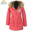 Chaqueta de invierno Mujeres Moda Faux Fur Capucha de la mujer Abrigos Casual Larga Laidies Algodón Wadded Parkas Abrigo Chaquetas de Abrigo