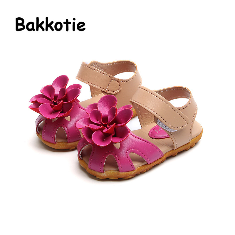 Bakkotie 2018 New Fashion Summer Baby Girl Flower Beach Sandal Kid All-Match Pu Leather Shoe Children Boy Red Soft Brand Flat