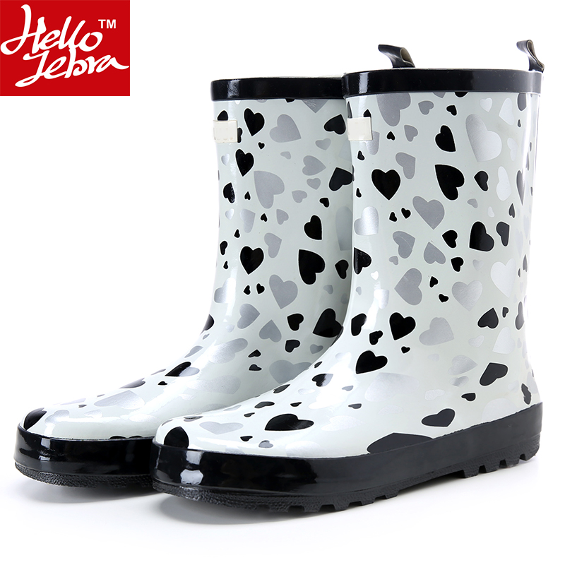 Women Rain Boots Fashion Rubber Water Shoes Girl Mid-Calf Round Toe Waterproof Rainboots Ladies Shoes Rainday White Heart Boots wellies polka dot breathable belt single shoes wading mid calf fashion gum canister rain womens boots women colorful antiskid