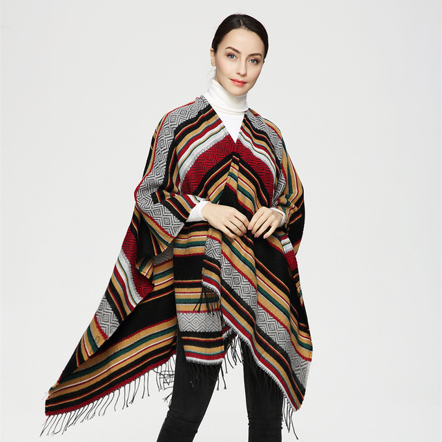2016 European Mix Color National Wind Striped Women Poncho Cape Cashmere Scarf Retro Scarves with Long Tassels PJ016