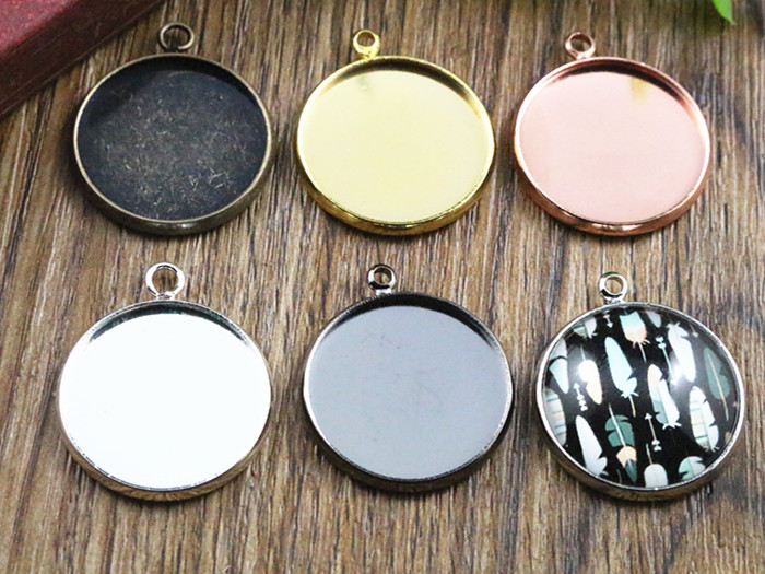 10pcs 20mm Inner Size 6 Colors Plated Classic Style Brass Metal Cabochon Base Setting Charms Pendant