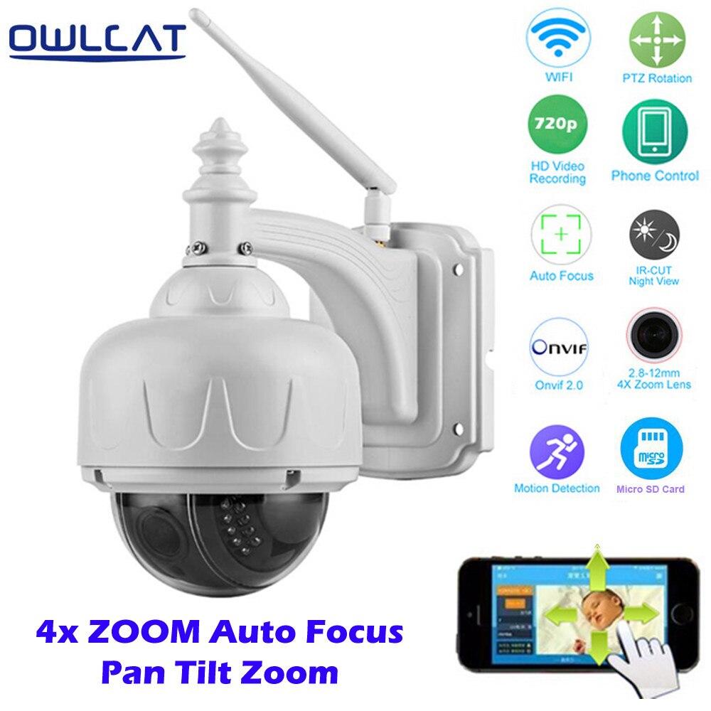 OwlCat HD 720P 1MP WiFi Wireless IP Speed Dome Camera IR-CUT PTZ 4X Zoom CCTV Security Surveillance Camera P2P Motion Detection 4 in 1 ir high speed dome camera ahd tvi cvi cvbs 1080p output ir night vision 150m ptz dome camera with wiper